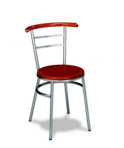 Silla de hostelería Rf. 3151025, armazón metal, asiento madera barnizada