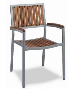 Sillon de aluminio, Rf. 3152685, madera de teka