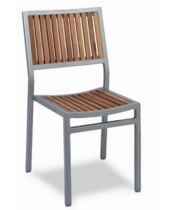 Silla de aluminio, Rf. 3151685, madera de teka