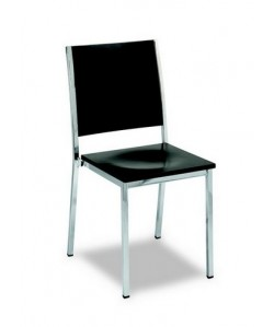 Silla 3151385, tubo acerado, asiento y respaldo de madera barnizada