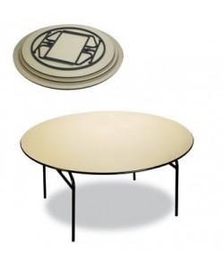 Mesa plegable Rf. 3153125, armazón acerado, tapa de melamina, 160 cms diámetro