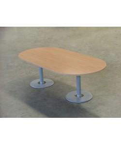Mesa de juntas oval 240X120 cms. pies de fundición. Color a elegir.