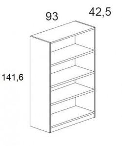 Armario medio con estantes, 93x42,5x141,6 cms. Color a elegir.