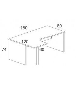 Mesa forma 180x120 cms, -izquierda-. Color a elegir.