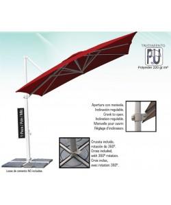 Parasol aluminio 3 x 3 metros, mástil lateral- HEAVY