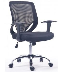 Silla de oficina HARZ, brazos, malla y tejido negro