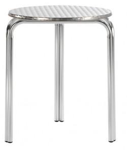 Mesa de aluminio, 28515375, doble tubo, tapa inox. 70 cms. diám.*