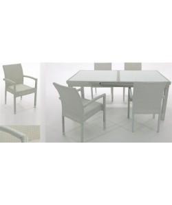 Set ARTIC, mesa extensible y 4 sillones