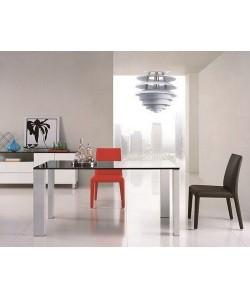 Mesa LAURENT, lacada blanca, tapa lacada negra, 160x90 cms. Pequeñas imperfecciones