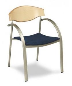 Sillón 3152455, acerado, asiento tapizado y respaldo madera haya.