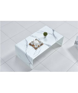Mesa MARBLE, baja, cristal, imitación mármol, 110x60 cms