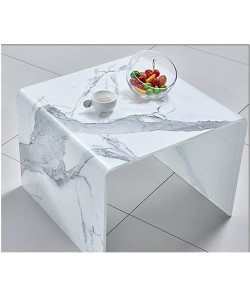 Mesa MARBLE, baja, cristal, imitación mármol, 50x50 cms