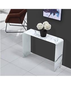 Consola MARBLE, cristal templado, imitación mármol, 100x30 cms