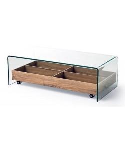Mesa ARIANA, baja, cristal templado, madera, 110x55 cms