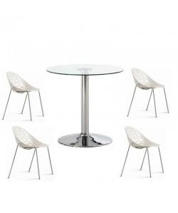 Pack GIN, mesa y 4 sillas de color blanco