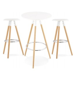 Pack OTILIO, mesa y 2 taburetes de color blanco.