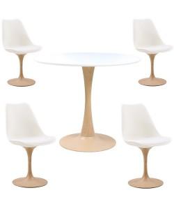 Pack TUL W, mesa y 4 sillas de color blanco