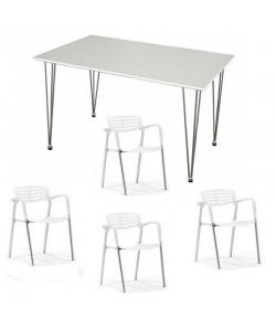 Pack ALBENIZ, mesa y 4 sillas de color blanco