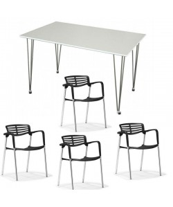 Pack ALBENIZ, mesa y 4 sillas de color negro.