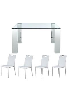 Pack EDITH, mesa cristal y 4 sillas de color blanco.