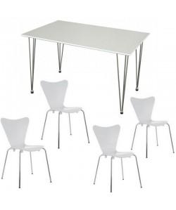 Pack JACOB, mesa blanca y 4 sillas de color blanco
