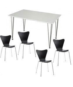 Pack JACOB, mesa blanca y 4 sillas de color negro.