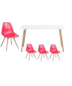Pack STAR, mesa lacada blanca y 4 sillas de color negro.