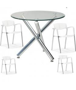 Pack ALBEDE, mesa y 4 sillas de color blanco