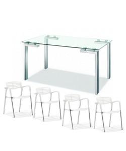 Pack ALBELA, mesa y 4 sillas de color blanco