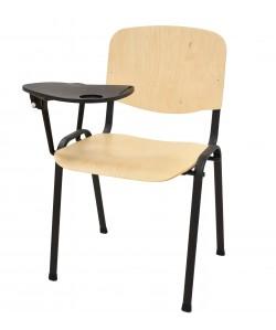 Silla NIZA NEW, chasis negro, pala escritura, madera natural