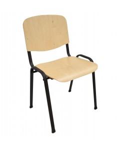 Silla NIZA NEW, chasis negro, asiento y respaldo en madera natural