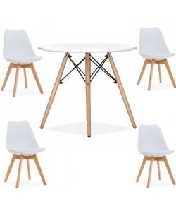 Pack TORRE, mesa y 4 sillas de color blanco