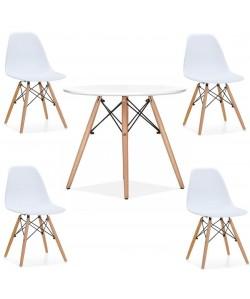 Pack TOWER, mesa y 4 sillas de color blanco