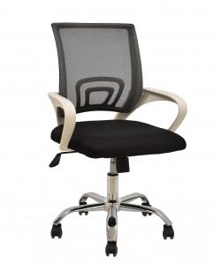 *Sillón de oficina FISS NEW, blanco, gas, basculante, malla y tejido negro