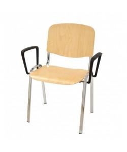 Silla NIZA NEW, cromada, brazos, asiento y respaldo en madera natural