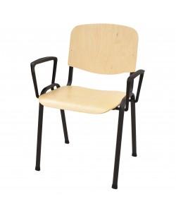 Silla NIZA NEW, negra, brazos, asiento y respaldo en madera natural