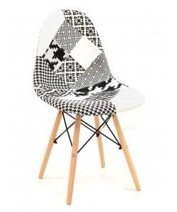 Silla TOWER , madera, tejido patchwork combi bgn