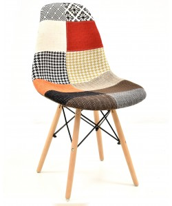Silla TOWER, madera, tejido patchwork color
