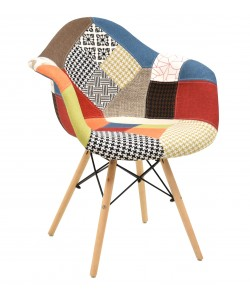 Sillón TOWER, madera, tejido patchwork color