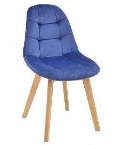 Silla LORENA, madera, terciopelo azul
