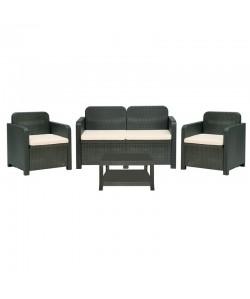 Conjunto GARRUCHA, 2 Sillones + sofá + mesa, poli ratán antracita, cojines