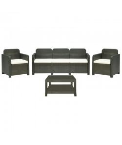 Conjunto BRASIL, 2 Sillones + sofá + mesa, poli ratán antracita, cojines