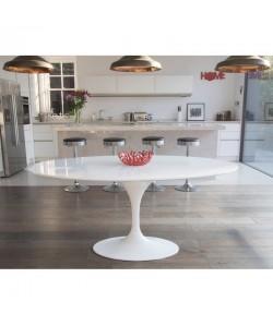 Mesa TUL, oval, fibra de vidrio, tapa lacada blanca 180x108 cms