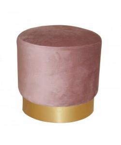 Puff IRINA, dorado, tejido velvet rosa coral