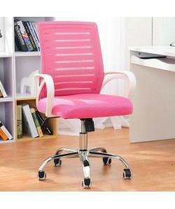 Sillón de oficina SUNSET, blanco, gas, basculante, malla y tejido rosa