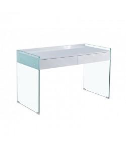 Mesa LIMOGES, cristal, cajonera, lacada blanca, 120 x 60 cms