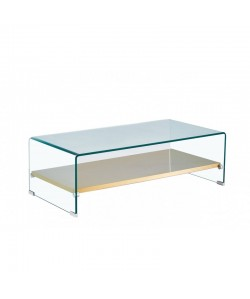 Mesa POITIERS, baja, estante, cristal, 110x55 cms