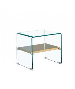 Mesa POITIERS, baja, estante, cristal, 50 x 40 cms