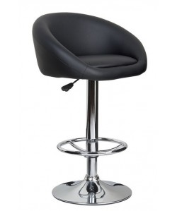 Taburete DRUM (L), cromado, tapizado negro.