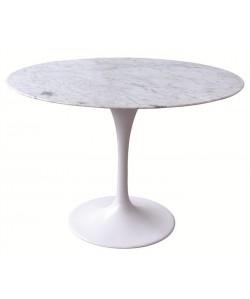 *Mesa TUL, aluminio, mármol blanco de 120 cms